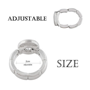 snaps adjustable sliver Ring fit 12mm snap chunks size 2cm