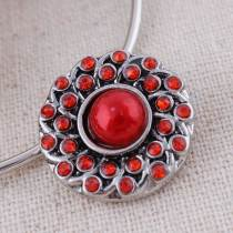 20MM round snap button Antique Silver Plated with red imitation pearl red rhinestone  snap jewelry