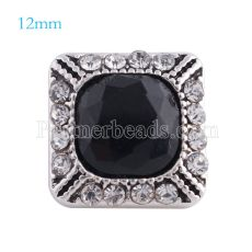 12MM Square snap Antique sliver Plated with black rhinestone KS6159-S snaps jewelry