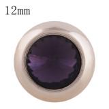 12MM bouton pression rond en or rose avec strass violet foncé KS9678-S s'enclenche les bijoux