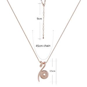Collar de oro rosa con cadena 45CM KS1164-S fit 12mm broches de joyería