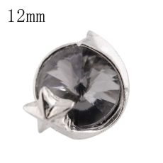 12mm star Small size snaps silver plated with gray Rhinestone for chunks jewelry
