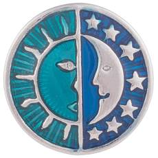 20MM Sun and Moon snap Silver Plated with Enamel KB6006 cyan