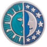 20MM Broche de sol y luna plateado con esmalte KB6006 cian