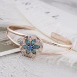 20MM redondo chapado en oro rosa con diamantes de imitación azul claro KC5647 broches de joyería