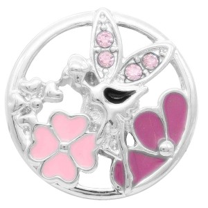 20MM  Spirit snap Silver Plated with pink rhinestone and enamel KC7896 snaps jewelry