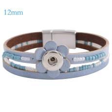Pulseras de cuero azul con botones a presión 7.8 inch 1 de Partnerbeads encajan con broches 12mm KS0650-S