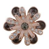 Diseño 20MM Chapado en oro rosa con diamantes de imitación grises KC5654 broches de joyería
