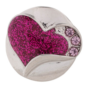 20MM Valentine loveheart silver plated with purple Rhinestone and Enamel KC7440 interchangeable snaps jewelry