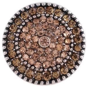 20MM round snap silver plated with brown rhinestones KC8846 interchangable snaps jewelry