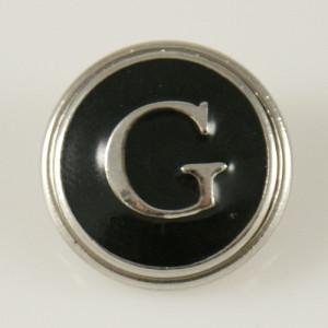 20MM englisches Alphabet-G Druckknopf versilbert KB1257 mit Emaille austauschbaren Druckknöpfen Schmuck