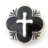 20MM DS5080 à bouton pression en croix argenté avec bijoux noirs en émail interchangeable