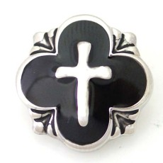 20MM Cross  snap silver plated DS5080 with black Enamel interchangeable snaps jewelry