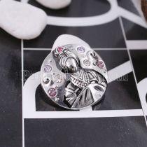 20MM Chinese elements-Ladies Druckknopf versilbert mit lila Strass KC5468 Druckknöpfen