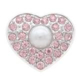 20MM herzförmige versilbert mit rosa Strass und Perlenschnappschmuck