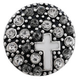 20MM cross snap silver plated with gray Rhinestone and Enamel KC7493 interchangeable snaps jewelry