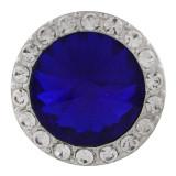 20MM Broche redondo plateado con diamantes de imitación azul oscuro KC9836 broches de joyería
