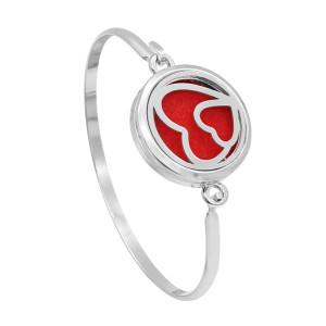 28MM Legierung Herz Aromatherapie / Ätherisches Öl Diffusor Parfüm Armband mit 1pc 20mm Scheiben als Geschenk