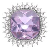 Diseño 20MM chapado en plata con diamantes de imitación púrpura KC6774 broches de joyería
