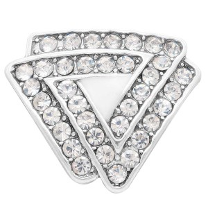 20MM Triangle snap Silver Plated with white rhinestone KC7911 snaps jewelry