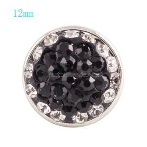 Botón de broches 12mm con diamantes de imitación negros Joyas de broches KS2703-S