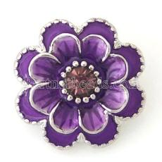 20MM Flower snap Silver Plated with purple rhinestone and Enamel KB8776 snaps jewelry
