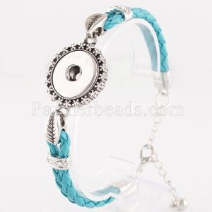 21CM 1 buttons Cyan leather KC0241 with Rhinestones new type bracelets fit 20mm snaps chunks