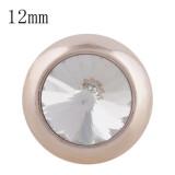 12MM bouton pression rond en or rose avec strass blanc KS9680-S s'enclenche les bijoux