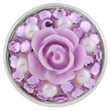 18mm Sugar Snaps Alliage avec strass violet et résine KB2447 Snaps Bijoux