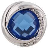 Diseño 20MM chapado en plata con diamantes de imitación azul profundo KC7420 joyería de broches intercambiables