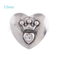 12mm loveheart snaps Silver Plated with white rhinestone KS5118-S snap jewelry