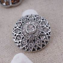 20MM round flower snap  Antique Silver Plated with white rhinestone KC7085 snaps jewelry