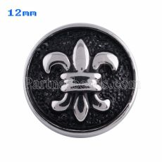 12mm flower snaps Silver Plated with black enamel KS5058-S snap jewelry