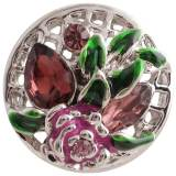 20MM flower snap silver Plated with multicolor Rhinestones and Enamel KC8863 snaps jewelry