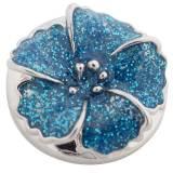 Broche de flores 20MM plateado con esmalte cian KC8797 broches de joyería