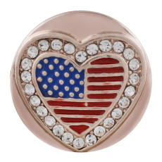 20MM heart flag Rose-Gold Plated with rhinestone and enamel KC7588 snaps jewelry