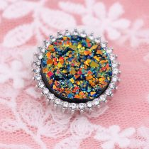 25MM Artificial Crystal opal Yellow snap Silver Plated with Rhinestone KC7984