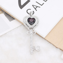 20MM heart-shaped design snap Silver Plated with purple rhinestone KC9921 snaps jewelry