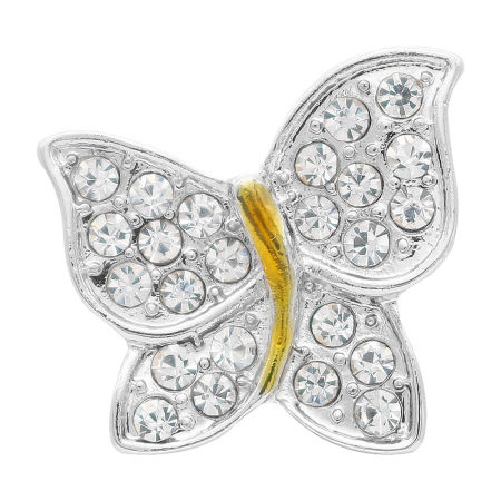 20MM Butterfly snap silver Plated with white Rhinestones  KC7734 snaps jewerly