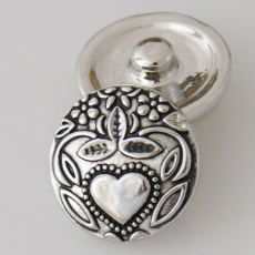 20MM Loveheart and flower snap Antique Silver Plated KB5406 snaps jewelry