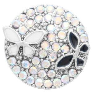 20MM  Butterfly snap Silver Plated with white rhinestone and enamel KC7906 snaps jewelry