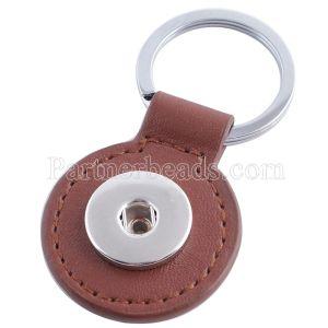 Brown Pu Leater Mode Schlüsselbund Tasten passen Snaps Chunks KC1122 Snaps Schmuck