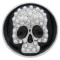 20MM Skull with Embedding pearls and Rhinestone KC7716 black interchangeable snaps jewelry