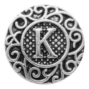 C20MM Englisch Alphabet-K Snap Antik Silber KC6755 Snaps Schmuck