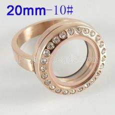 Stainless Steel RING  10# size  with Dia 20mm floating charm locket gold color