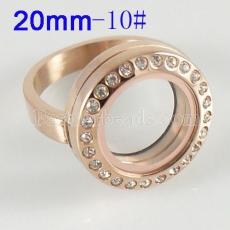ANILLO de acero inoxidable 10 # tamaño con medallón de encanto flotante Dia 20mm color dorado