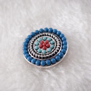 20MM Bouton pression rond plaqué argent avec petites perles cyan KB6431 s'encliquette bijoux