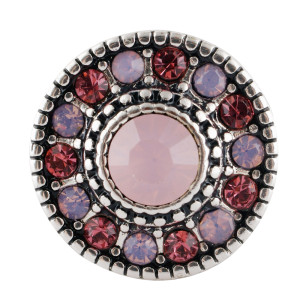 Broche redondo 20MM Plateado antiguo Chapado con diamantes de imitación multicolor KC7685 se ajusta a presión