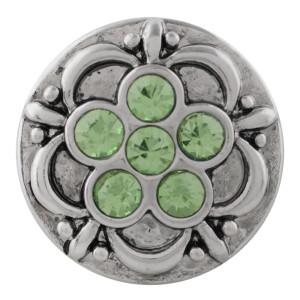 Хлопчатобумажная оснастка 20MM, посеребренная со стразами зеленого цвета KC7640