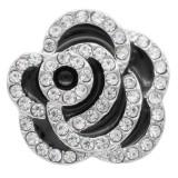 20MM Flowers snap Versilbert mit Strass und schwarzem Emaille KC7887 snaps jewelry